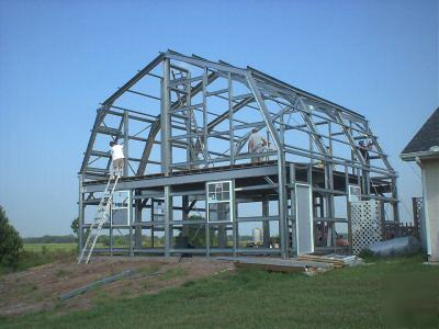 Steel gambrel home building kit 2 floor 3600 sq ft for Gambrel barn homes kits
