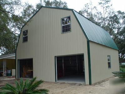 Steel metal 2 story building home gambrel roof for Two story metal building homes