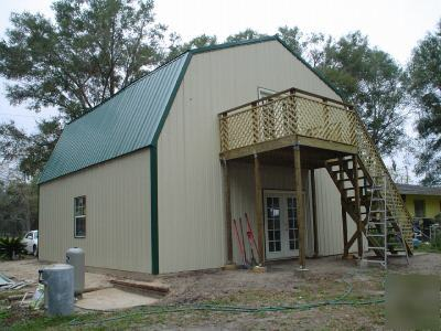 Steel metal 2 story building home gambrel roof for Gambrel roof metal building