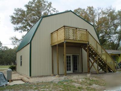 Steel metal building 2 story home gambrel roof for Two story metal building homes