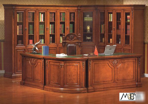 9 Piece Mahogany Desk Amp Bookcase Complete Office Suite