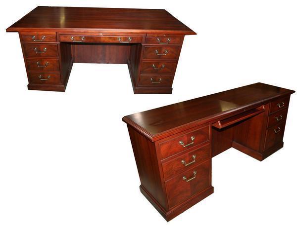 Kimball President Mahogany Desk Knee Space Credenza Set