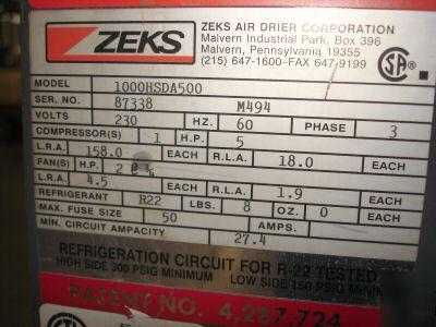 Zeks Refrigerated Air Dryer 1994 Model 1000hsda500